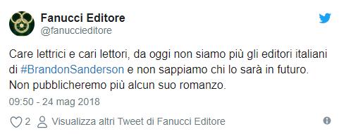 Il famoso tweet di rinuncia della Fanucci