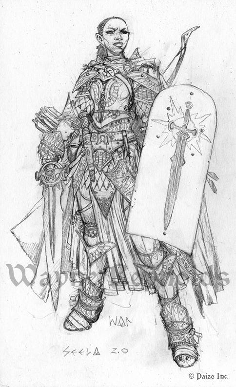 La Paladina iconica della seconda edizione di Pathfinder - Disegno di Wayne Reynolds
