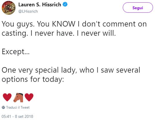 Il commento (e il tentativo di cambiare discorso?) di Lauren S. Hissrich